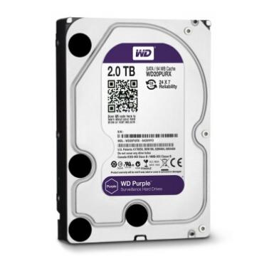 西部数据(WD)2TB SATA6Gb/s 64M监控级紫盘(WD20PURX)