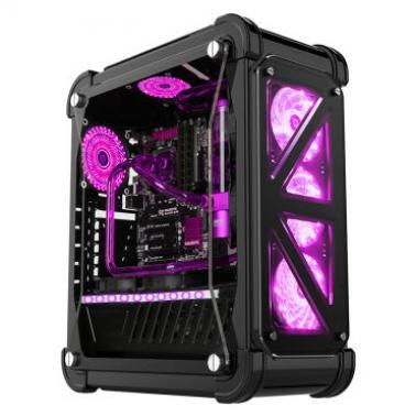超频三(PCCOOLER)暴雪裸透版 全塔式机箱 黑色(支持ATX大板/标配4个12CM风扇/1个LED灯条/水冷/长显卡)