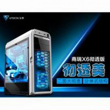 至睿 商瑞X6彻透版 机箱(全透侧板/支持背线/USB3.0/支持SSD/电源独立分仓)白色